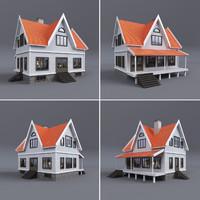 family house terrace 3d model