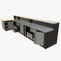 3d interactive kitchen bar counter model