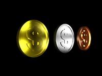 coins gold bronze 3d model