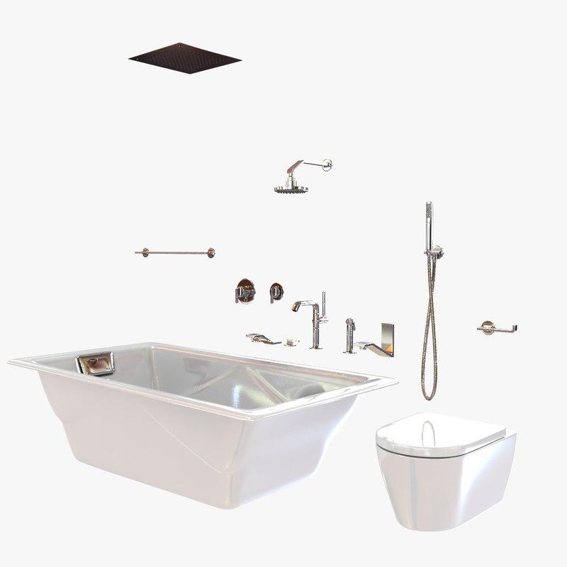 Innovative Bathroom Fixtures Collection 3D Model OBJ C4D  CGTradercom