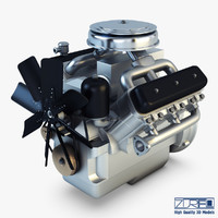 3d model v6 type engine v