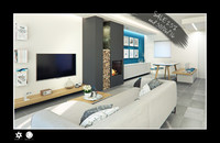 c4d scene modern living room interior