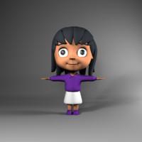 Cartoon cute little girl