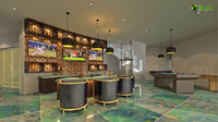 3D Interior Bar Design in Modern Bungalow