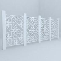 3d model fence railing