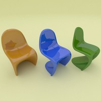 6 plastic panton chair 3d model