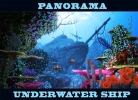 cartoon underwater ship scene obj
