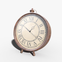 wooden antique clock 3d model