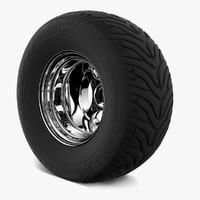 retro wheel tire goodyeah 3d model