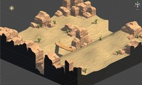 3d level cactus rock model