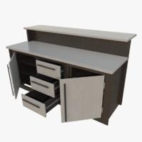 interactive kitchen bar counter 3d obj