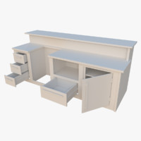 interactive kitchen bar counter 3d model