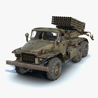 low-poly rusty bm-21 grad 3d model