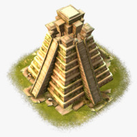 cartoon mayan temple 3d model