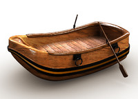 3d model boat canoe cartoon
