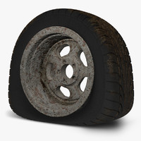 3d model wreck flat tire rusty
