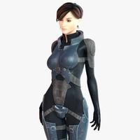 3d character sci-fi girl model