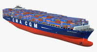 container ship cma pegasus 3d obj