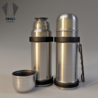 3d model inox bottle thermos