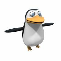 cartoon character penguin 3d obj