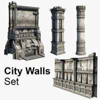 set city walls 3d model