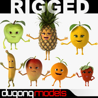dugm07 fruits rigged cartoon 3d max