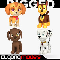 3d model rigged cartoon dog