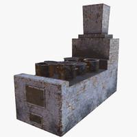 3d model furnace gen pbr