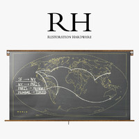 3d model of restoration hardware military chalkboard