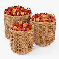 wicker basket apples oat 3d model