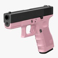 glock 19 pink 3d model