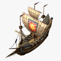 cartoon frigate 3d max