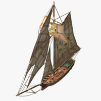 3d model cartoon sloop