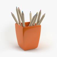cup pencils 3d max