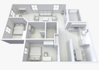 3ds non-textured version house -
