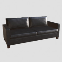 3d 3ds black leather couch