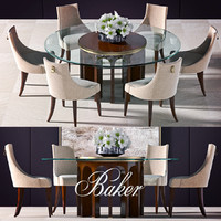 baker dinning table flower 3d max