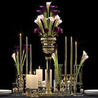 3d decorative flower vase set model
