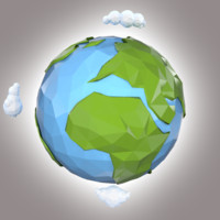 3d model stylized planet earth