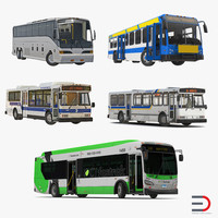 3d model rigged buses 5 bus