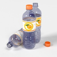 3d realistic water bottles plastic model