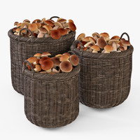 wicker basket mushrooms brown 3d max