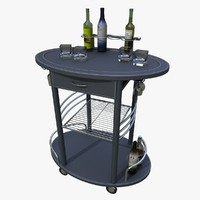 3d portable bar cart minibar model