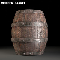 3d model old barrel wood