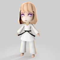 karate kid girl 3d model