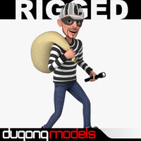 3d model using rigged cartoon thief