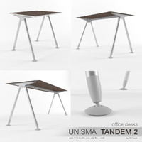 3d office desks unisma tandem model
