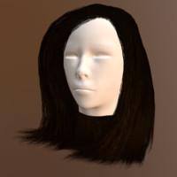 polygonal female hair ma