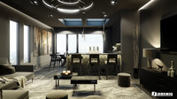 black luxury apartment london 3ds
