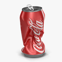 3d model crushed soda 2 coca cola